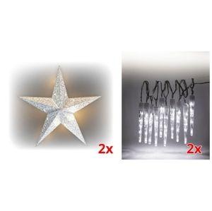 Sada LED osvetlenia (2x svietiaca hviezda + 2x cencúle LED 10 ks)